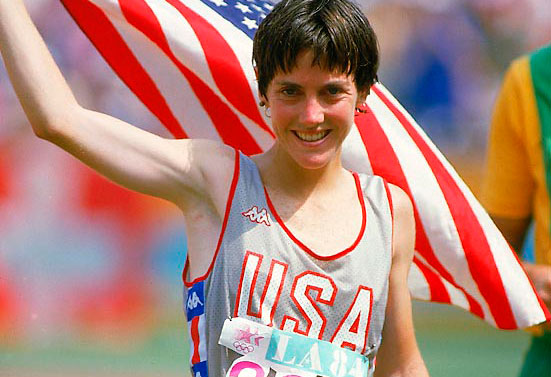 The great Joan Benoit-Samuelson, after winning the marathon at the 1984 Summer Olympics in Los Angeles.