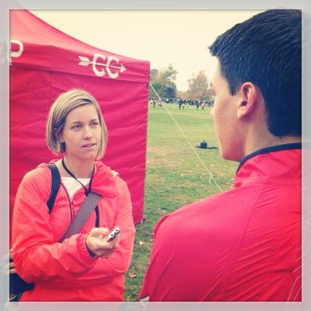 Mary Albl on the job covering a cross country meet at Wickham Park in East Hartford (Photo by John Nash)