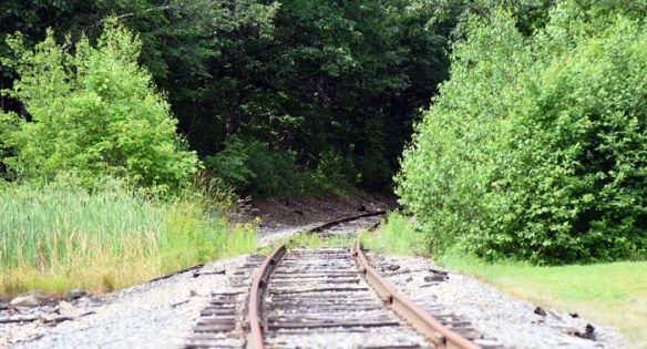 A set of railroad tracks lead away from Center Drive toward the rest of the town of Orrington.