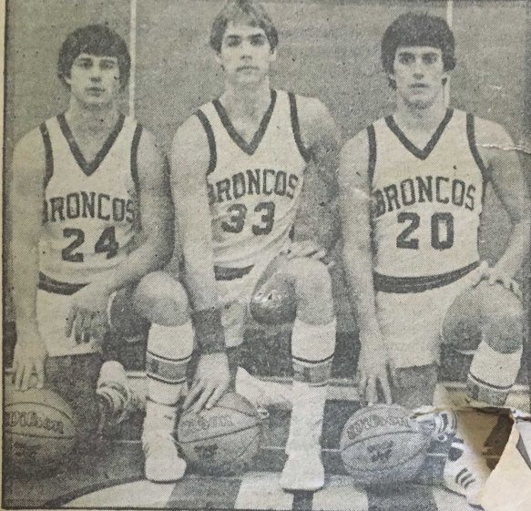 The three senior players from my varsity basketball team, including yours truly on the right. (Photo courtesy of the Bangor Daily News)