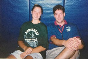 Sitting with former Wakefield (Mass) High player Liz Labriola at a summer basketball camp.