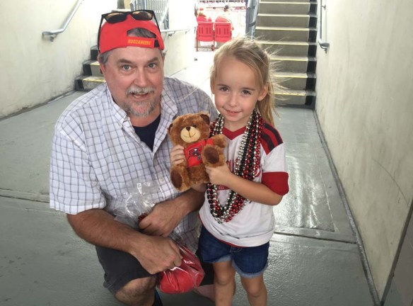 Little Addison, right, got a surprise gift from me at the Tampa Bay Buccaneers game on Sunday.