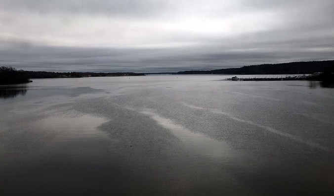 The skies are foreboding over the Potomac River approaching Washington, D.C., on Tuesday afternoon.