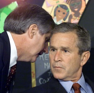President George Bush hears the news of 9/11 from chief of staff Andrew Card.