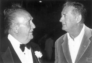New England journalism legend Bud Leavitt, who hired me and became my first boss, talks with his good friend, Red Sox legend Ted Williams. (Photo courtesy of the Bangor Daily News)