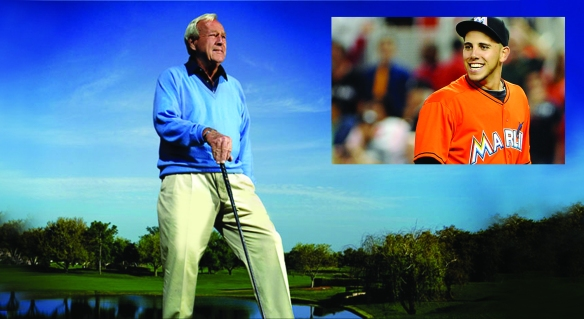 Arnold Palmer, left, and Jose Fernandez (inset) were both lost to the world on Sunday, Sept. 25, 2016.