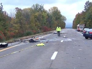 The accident scene on I-89 in Williston, Vt., on Saturday night, where five teenagers lost their lives.