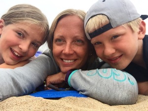 Emilie Throckmorton, center, poses with her two children. (Photo courtesy of onemominmaine.com)