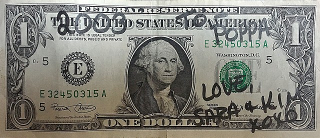 100 pennies for your thoughts on the story behind this dollar bill.